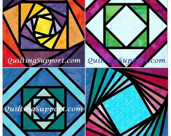 Stained Glass Log Cabin Set 1 Paper Foundation Piecing Quilting 4 Block Patterns PDF