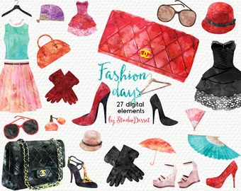 Fashion Cliparts Watercolor, Beauty Illustrations, High Heels Clipart Shoes, Fashion Clipart Graphics for Personal & Commercial Use