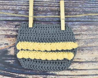 Crochet Diaper Cover - Yellow and Grey - Ruffle
