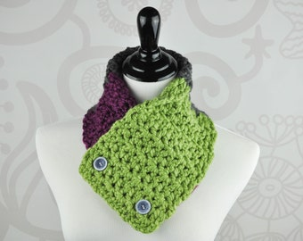 Crochet Scarf - Fuchsia, Green, and Grey - Neckwarmer