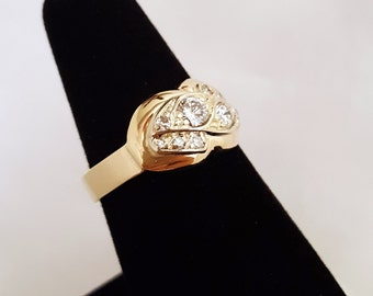 Antique Diamond (Wedding?) Ring w/new shank in 14k Yellow Gold -EB469