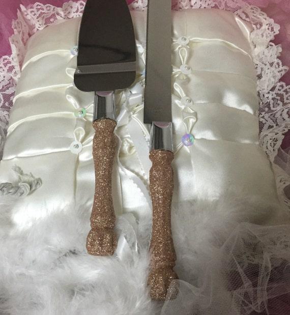 Sale Wedding Cake Server Set Cake Cutting Set Rose Gold