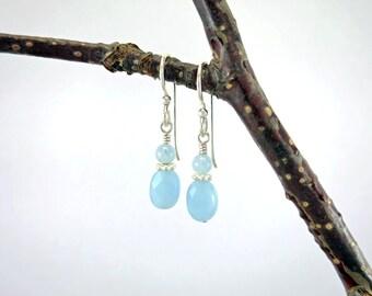 Aquamarine Earrings ~ March Birthstone Earrings ~ Drop Earrings ~ Bridal Earrings ~ Something Blue ~ Wedding Earrings ~ Gemstone Earrings