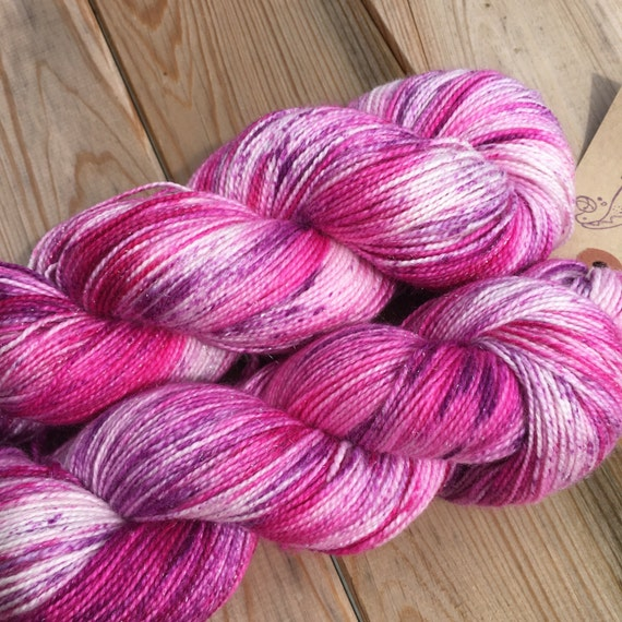 Bad Ballerina on sparkle sock, speckled pink purple indie dyed platinum sock yarn