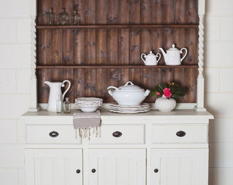 SOLD**Newly Refurbished Farmhouse Style White Vintage Buffet Hutch Cabinet