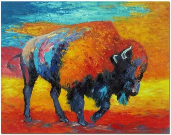 Powerful American Bison - Hand Painted Wildlife Oil Painting On Canvas Multi-Colored Cattle Buffalo Art