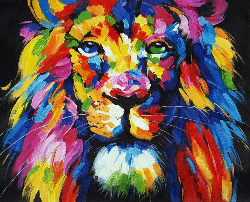 Multicolor Francoise Nielly Portraits Handmade Oil: Lion Painting On Canvas Signed Hand Painted Multi-Colored