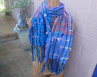 Beautifully Saori hand woven  textured cotton scarf.