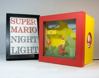 Super Mario night light, Nursery decor, geek gift, geek night light, video game night light, home decor, birthday gift, baby shower