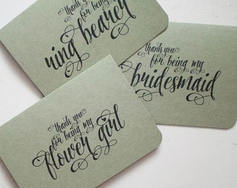 Thank you for being my bridesmaid, maid of honor, best man, groomsman card - Kraft Paper, 100% Recycled Post Consumer Paper.
