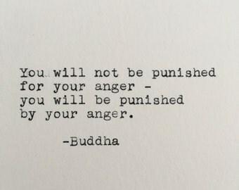Buddha Anger Quote Typed on Typewriter - 4x6 White Cardstock