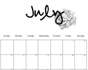 2016 Minimalist Peony Printable Calendar