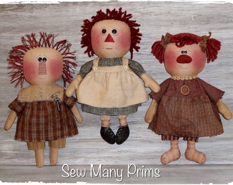Primitive Doll PATTERN raggedy ann - Build An Annie - Sew Many Prims - instant download