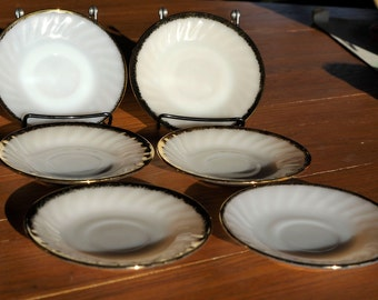 Set of 6 Vintage Fire King White Swirl Milk Glass 5 3/4 Inch Tea Saucers with Gold Rims - By Anchor Hocking