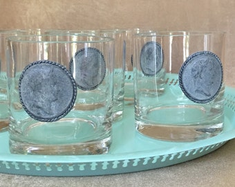 Whisky Glasses, Vintage Bar Glasses, Coin Emblem Glass, Roman Coin Glass, Wedding Gift, Classic Bar, Short Rocks Glass, Unique Retro Barware