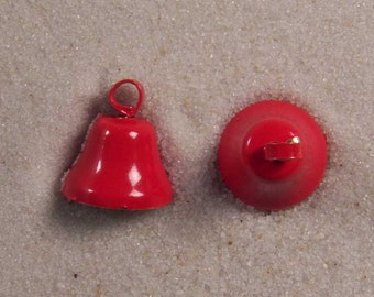 "Set of 50 JHB Intl Red Bell Metal Charms 7/16 X 7/16"" or 12 X 12 mm lyk0038"