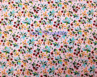 Pink color Japanese Cotton Fabric with Red, Blue, Orange and White Flowers printed! - 100% MADE IN JAPAN! (JP2)