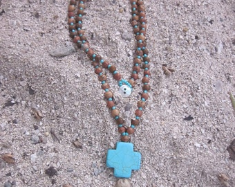 Long beaded necklace 108 beads rustic turquoise necklace cross natural jute tassel necklace bohemian mens necklace women's necklace