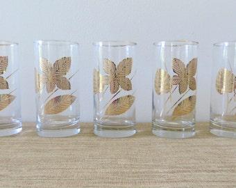 Vintage Libbey Gold Leaf Glasses - Set of 5