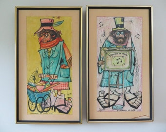 ON SALE-Vintage French Caricature Art (Set of Two) - Clochards de Paris 1964 and 1965 (French Hobos - Bums) Original French Art - Boho Art