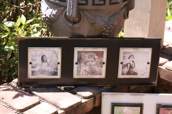 Distressed plank picture frame black and white picture for Decoration 4x4
