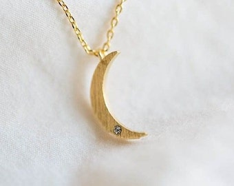 Small Crescent Moon Necklace with Rhinestone in Gold