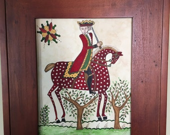 Watercolor and ink - of soldier riding horse