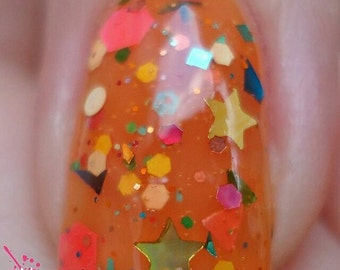 DULCET~Pretty Purist Collection Tangerine Glitter Jelly Indie Nail Polish 10ML