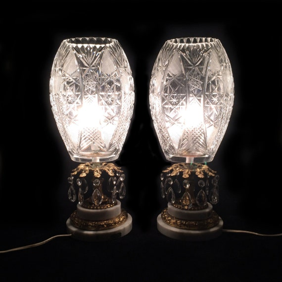 Pair Of Vintage Crystal Cut Glass Table Lamps With Prisms And