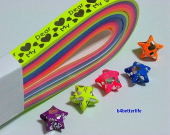 """Pack of 200 Strips Mini Size Luminous Hot-Stamping Lucky Stars Origami Paper Kits. """"My Dear"""" 24.5cm x 1.0cm. #HS123. (HS paper series)."""