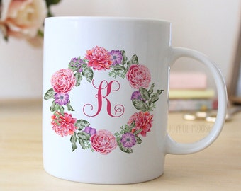 monogrammed gifts for bridesmaids - floral wreath monogram coffee mug