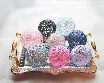 Lace Crochet balls, Wedding decor idea, Vase Filler, Handmade project supplies, Set of 5 crochet balls