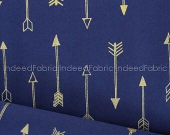 Last Fat Quarter, Midnite Arrows- Arrow Flight Collection, Michael Miller Fabrics, Metallic Gold Print, Quilting Weight