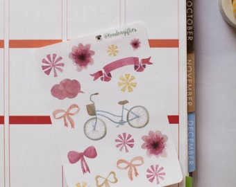Pink bike ride in a dream - decorative watercolour planner stickers suitable for any planner -109-