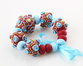 Lampwork Beads for Jewelry -  Red Scarlet Sky Blue Turquoise White Beads