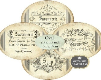 Perfume Labels Vintage Savon Ovals Etiquettes 3.5 x 2.5 inch Instant Download digital collage sheet O138