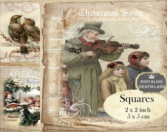 Vintage Christmas 2x2 inch squares Instant Download digital collage sheet TW159 santa angel square