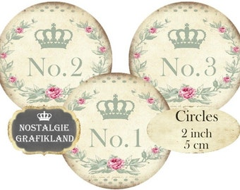 Shabby Chic Numbers Circles 2 inch Instant Download digital collage sheet C109