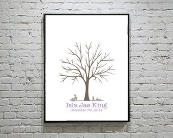 Baby Shower / Wedding Thumbprint Tree Guestbook with Rabbits Set 1