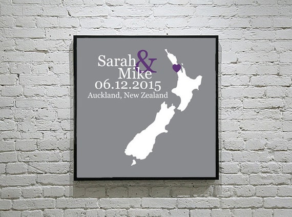 Wedding Gift New Zealand : New Zealand Wedding Gift Custom Map Personalized Couple Art ...