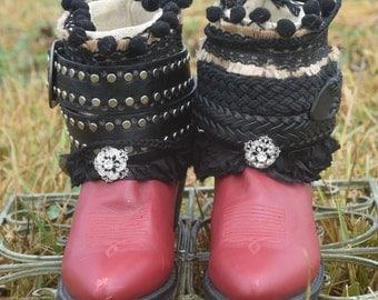 Upcycled REWORKED Boho BOOTS Coachella boots / on SALE