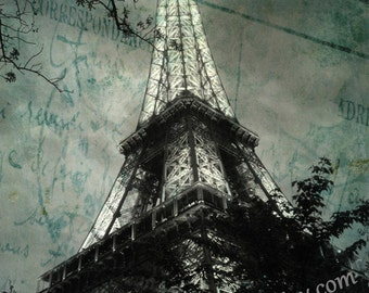 Eiffel Tower Decor, Night,  Eiffel Tower Art Print, Monochrome, Gothic Inspired, Paris, Paris Photography