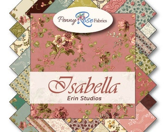 """Isabella by Penny Rose Fabrics (Riley Blake) 5"""" Stackers Charm Pack 100% Designer Cotton by Erin Studios 5-4690-27"""