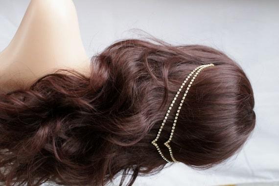 Wedding Hair Jewellery : Head chain crystal hair jewellery wedding accessory gold