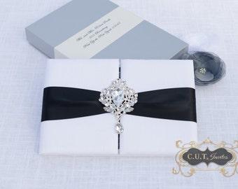 Wedding Invitation - Black and White Silk Luxury - Couture Event Invitation
