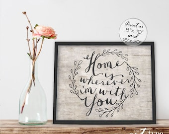 Home Is Wherever I'm With You Print Poster INSTANT DOWNLOAD 8x10, 16x20 Printable Wedding Family Quote Home Decor, Song Lyrics, Calligraphy