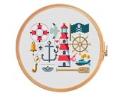 Marine sampler - modern cross stitch pattern - anchor lifeline captain lighthouse vistula bell steering wheel compass seagull card money