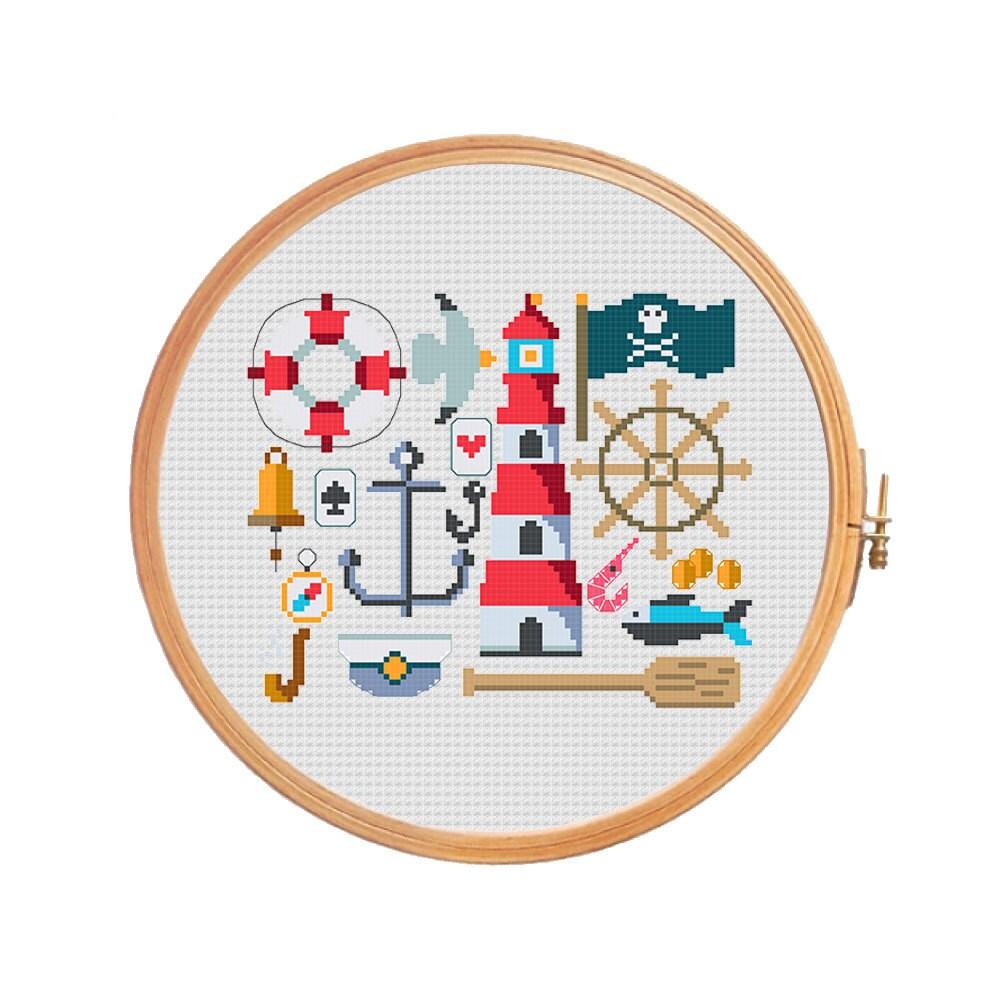 Marine sampler modern cross stitch pattern anchor lifeline