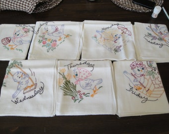 Hand Embroidered Seven Days Of The Week, Cute Coverlets Each One Large Size, 29 X 32. Vintage New Never Been Used