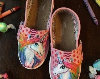 Rainbow Unicorn Handpainted Kids Toms
